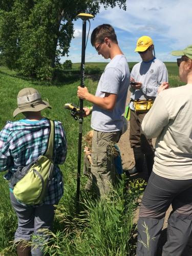 Using GPS to stake Echinacea plants!