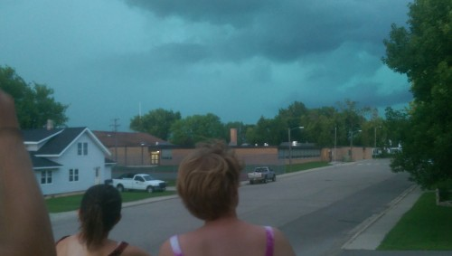 Out storm watching on the porch.