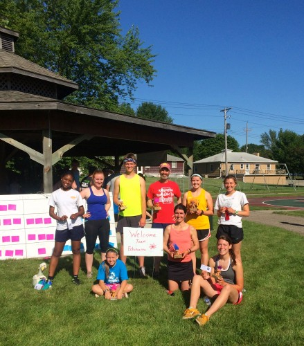 Team Echinacea shows off the many troll-phies and ribbons earned at the Flekke-5k!