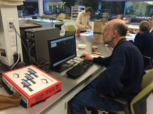 Bill counting achenes. Bill is an expert counter who has been known to count as many as 31 heads in a single sitting!