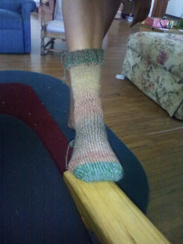 Laura has knitted a sock! Laura is a free elf!