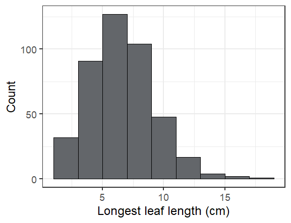 A histogram of seedling leaf lengths, ranging from 1 to 19 cm